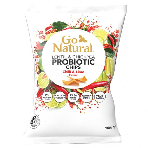GO NATURAL PROBIOTIC CHIPS CHILLI LIME 100G X 5
