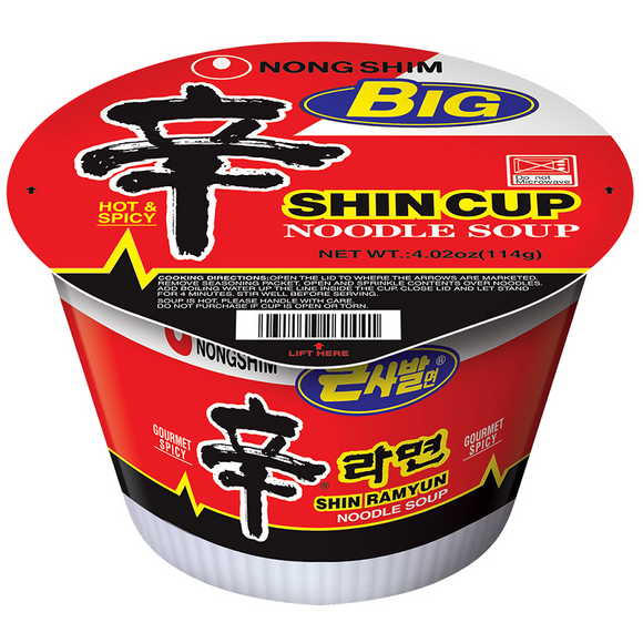 SHIN BIG BOWL NOODLE HOT & SPICY 114G X16