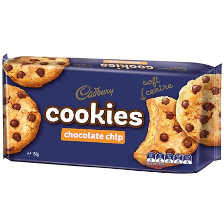 CADBURY COOKIES CHOC CHIP 156G X 12