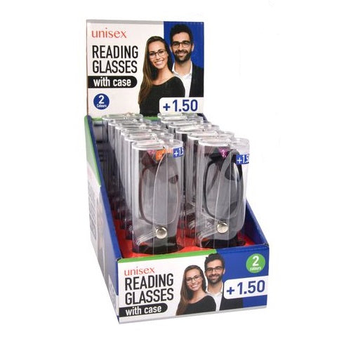 READING GLASSES PLASTIC FRAME +1.50 X 12 BOX