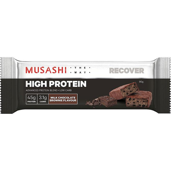 MUSASHI HIGH PROTEIN BROWNIE 90G X 12