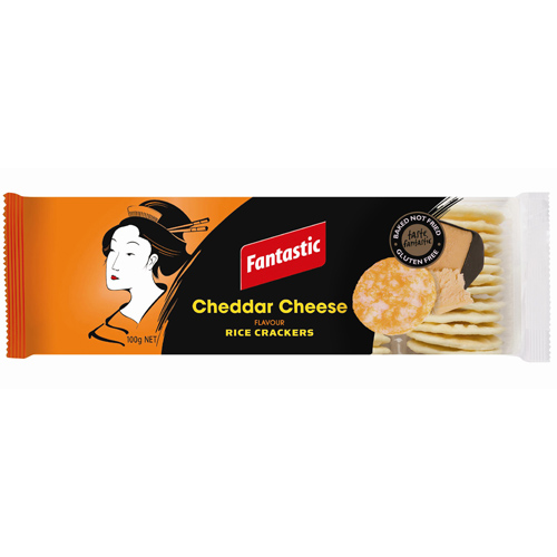 FANTASTIC RICE CRACKERS CHEDDAR CHEESE 100G X 12