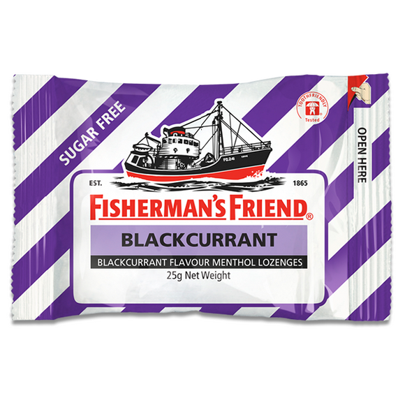 FISHERMAN'S FRIEND BLACKCURRANT SUGAR FREE 25G X 12
