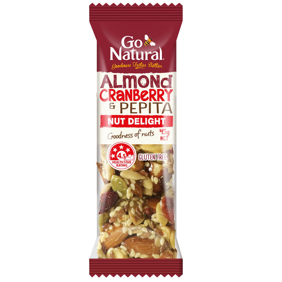 GO NATURAL ALMOND, CRANBERRY & PEPIT 45G X 16