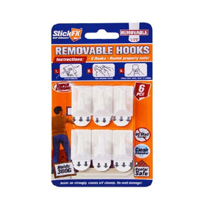 6PCS SELF-ADHESIVE HOOKS HOLDS 300G