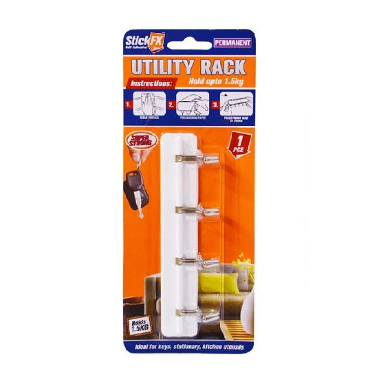 SELF-ADHESIVE UTILITY RACK HOLDS 1.5KG