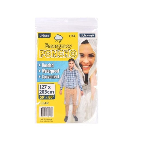 EMERGENCY TRANSPARENT PONCHO - CLEAR