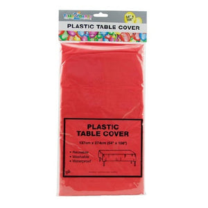 TABLECLOTH PLASTIC 1.4 M X 2.7M - RED