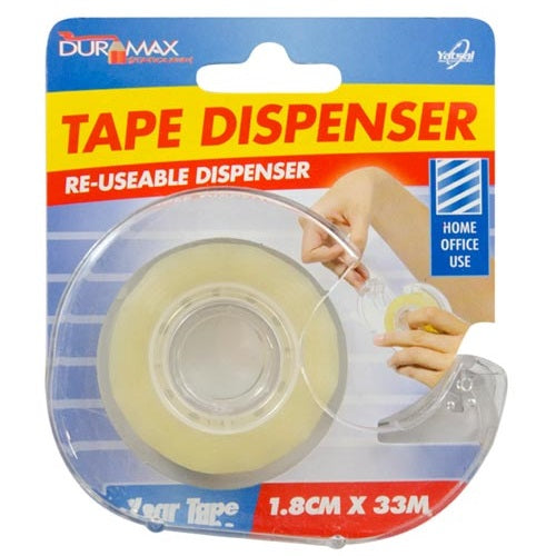 TAPE DISPENSER W/TAPE - 1.8CM X 33M