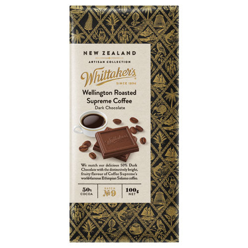 WHITTAKER'S ARTISAN COLLECTION - WELLINGTON ROASTED SUPREME COFFEE 100G X 20