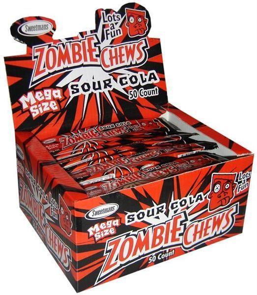 ZOMBIE CHEWS SOUR COLA 28G X 60