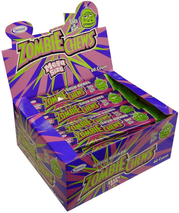 ZOMBIE CHEWS SOUR GRAPE 28G X 60