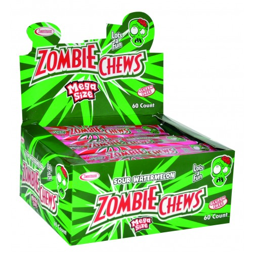 ZOMBIE CHEWS SOUR WATERMELON 28G X60