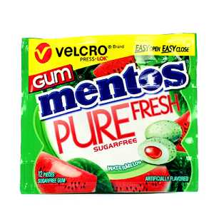 MENTOS VELCRO GUM WATERMELON 12P X 10 ($1.49 each inc GST)