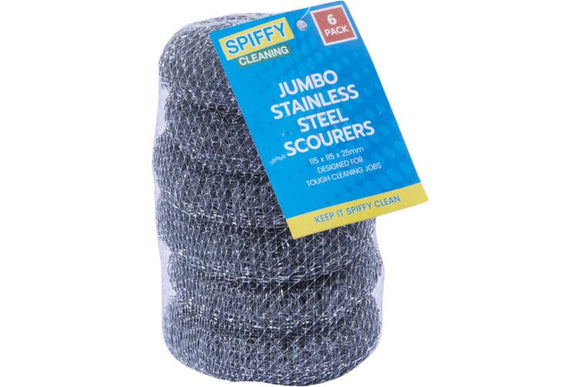 JUMBO STAINLESS STEEL SCOURERS 6 PACK x 24