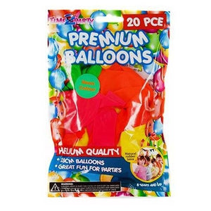PREMIUM HELIUM BALLOONS NEON ASSORTED COLOURS 20PK