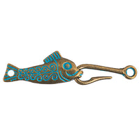 Hook & Eye - Fish 55x13mm Patina Finish (1 set)