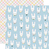 "Simple Stories 12x12 patterned paper, Bunnies + Blooms ""Bunny Love"""