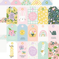 "Simple Stories 12x12 patterned paper, Bunnies + Blooms ""Tags"""