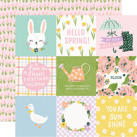 "Simple Stories 12x12 patterned paper, Bunnies + Blooms ""4x4 elements"""