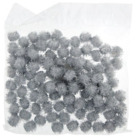 "Pompoms- 1/2"" white/silver sparkly"