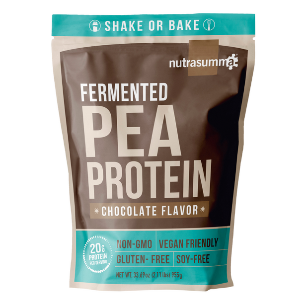 Try Nutrasumma's chocolate plant based pea protein