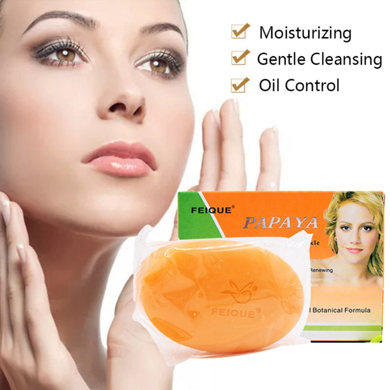 Natural Botanical Formula Papaya Whitening Anti-freckle Soap Deep Cleaning Brighten Face Care Wash Basis Soap