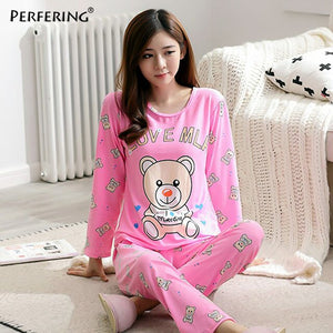 Perfering Pink Pajamas Set Women Autumn New Homewear Cotton Cartoon Shirt + Long Pant 2 Piece Cute Sleepwear Pyjama Female Lady