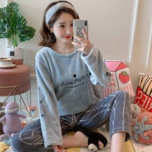 JULY'S SONG Cartoon Flannel Women Pajama Sets Autumn and Winter Cute Female Homewear Thick Warm Women Sleepwear