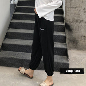 Elastic Spandex Pajamas Set Women Big Size Casual Pyjama Female Summer Cool Cotton Sleepwear Long Pants Shirt Shorts Homewear