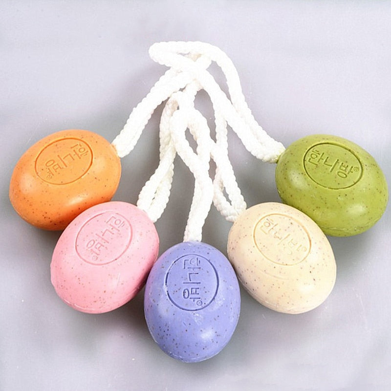 Handmade Volcanic Mud Soap No Rubbing Removel The Ash Hanging Rope Soap Moisturizing Bath Tool Color Random High Quality 120g