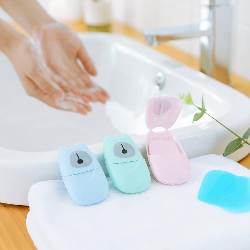 50pcs Disposable Soap Paper With Storage Box Travel Portable Hand Washing Box Clean Scented Slice Sheets Soap Paper Dropshipping