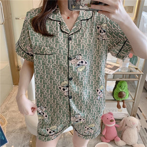 Caiyier 2020 Summer Short Sleeve Silk Pajama Set Turn-down Collar Nightgown Cute Bear Sleepwear Long Pant Spring Nightsuit