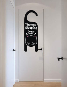 Black Cat Vinyl Sticker For Kids Door Decoration, Do Not Disturb Wall Decal, Neutral Gender Nursery Room Decor K525