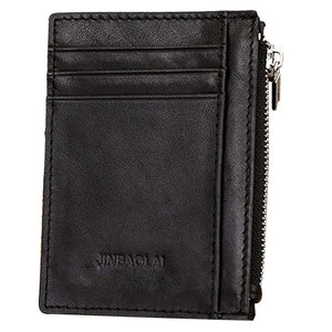 Luxury Retro Zipper Mens Leather Wallet Credit ID Card Purse cartera hombre