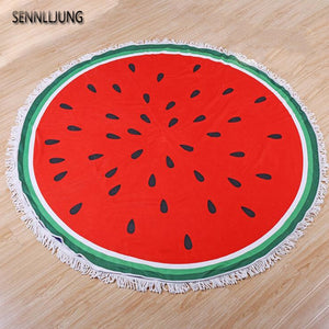 Round Beach Towel 150CM Watermelon and flowers Printed  POLYESTER FIBER SHOWER TOWELS Circle Bohemia Bath Towels Shawl Mat Thick