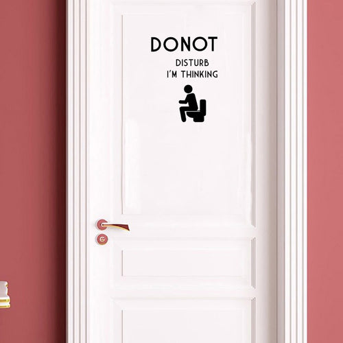 YOJA 15.8*22CM Fun DO NOT DISTURB I 'M THINKING Decal WC Door Wall Sticker Black Decoration A40443