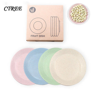 CTREE 4Pcs/Set Creative Pure Natural Wheat Straw Plate Dish Multi-function Plastic Foods Dish Dessert Kitchen Plate Tray C278