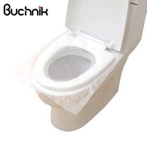 BUCHNIK 10pcs/Pack Portable Disposable Toilet Pats Travel Accesssories Seat Covers Trip Essentials Waterproof PE Commode Cushion