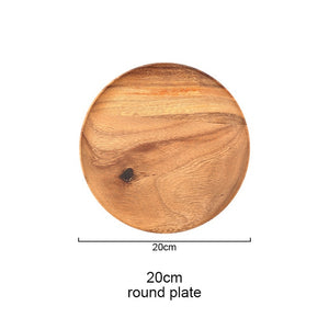 Acacia Wooden Tray Dinner Plate Food Dessert Tea Plate Round Square Rectangle