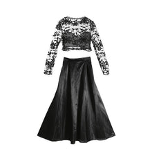Women 2pc Clothes Sets Ladies  Bridesmaid Long Maxi Skirts Women Lace Fashion Long Sleeve Tops And Long Skirts