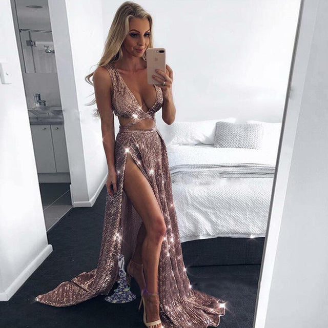 Sexy Deep V -Neck Split Sequined Party Dress Sleeveless Crop Top Outfit Hollow Out Skirt Two Piece Sexy Outfits For Women