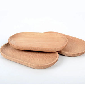 1PC Japanese-style Solid Wood Mini Oval Tray Without Paint Wooden Small Plate Children's Wooden Plate Tableware