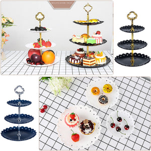 3 Tier Plastic Fruit Plate Cake Stand Birthday Party Decor Afternoon Tea Wedding Plates Tableware Dessert Vegetable Storage Rack