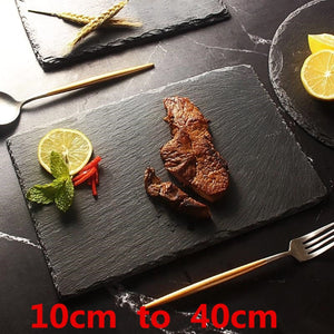 Natural Black Western  Slate stone Dishes Solid Square Sushi Steak Barbecue BBQ Plate Cheese Pizza Dessert cake Fruit dish Tray