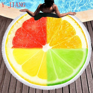 Puzzle Orange Round Beach Towel Printed Creative Tricolor Microfiber Summer Beach Towels Circle Adults Travel Blankets Tapestry