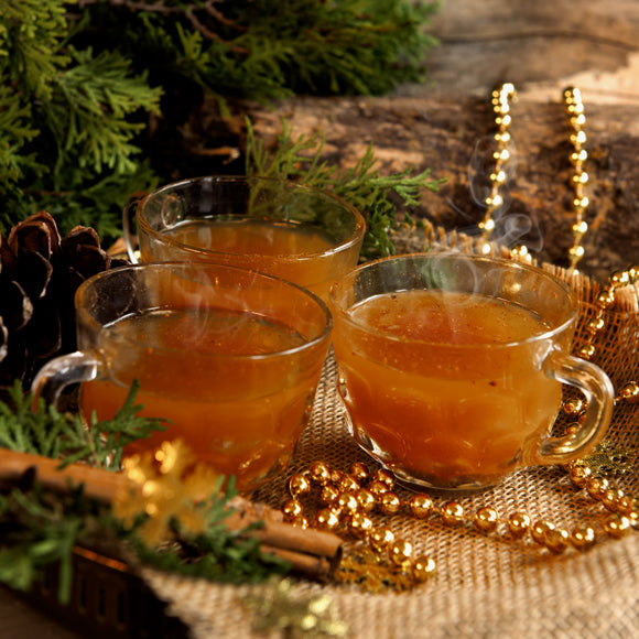 Spiced-up warm moonshine drink