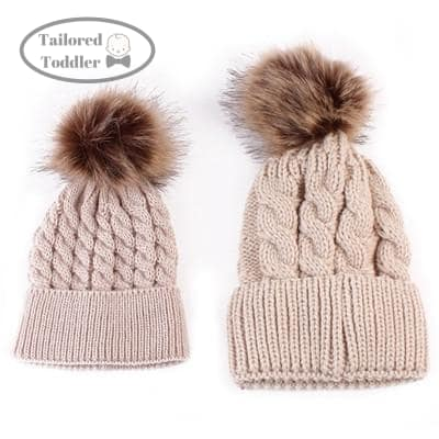 ... Knitted Winter Hat Pair Khaki dark Pompom Tailored Toddler Hats caps ... fb46c03a751