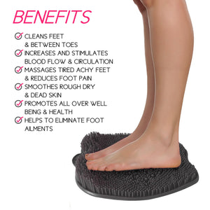 Grey Shower Sole Scrubber And Foot Massager