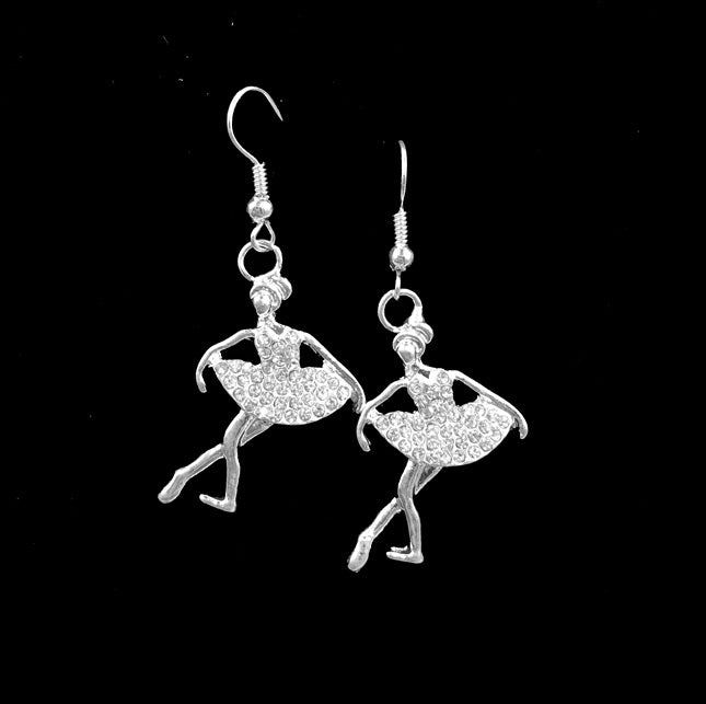 crystal ballerina drop earrings